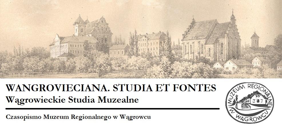 Nagłówek czasopisma Muzeum Regionalnego w Wągrowcu. Odnośnik do strony Wangrovieciana Studia et Fontes Wągrowieckie Studia Muzealne