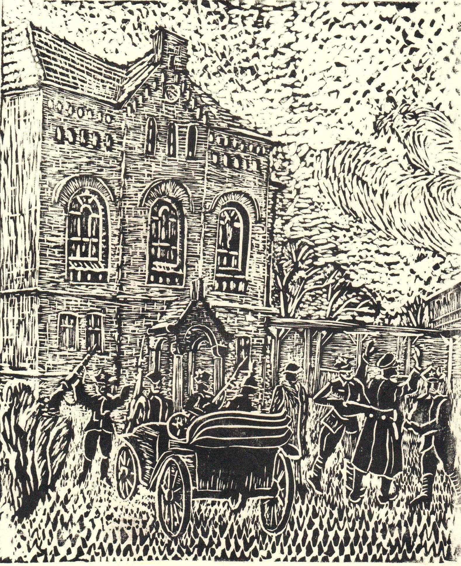 Artystyczna wizja akcji powstańczej w Wągrowcu, linoryt Ignacego Boruckiego (zbiory Muzeum Regionalnego w Wągrowcu).