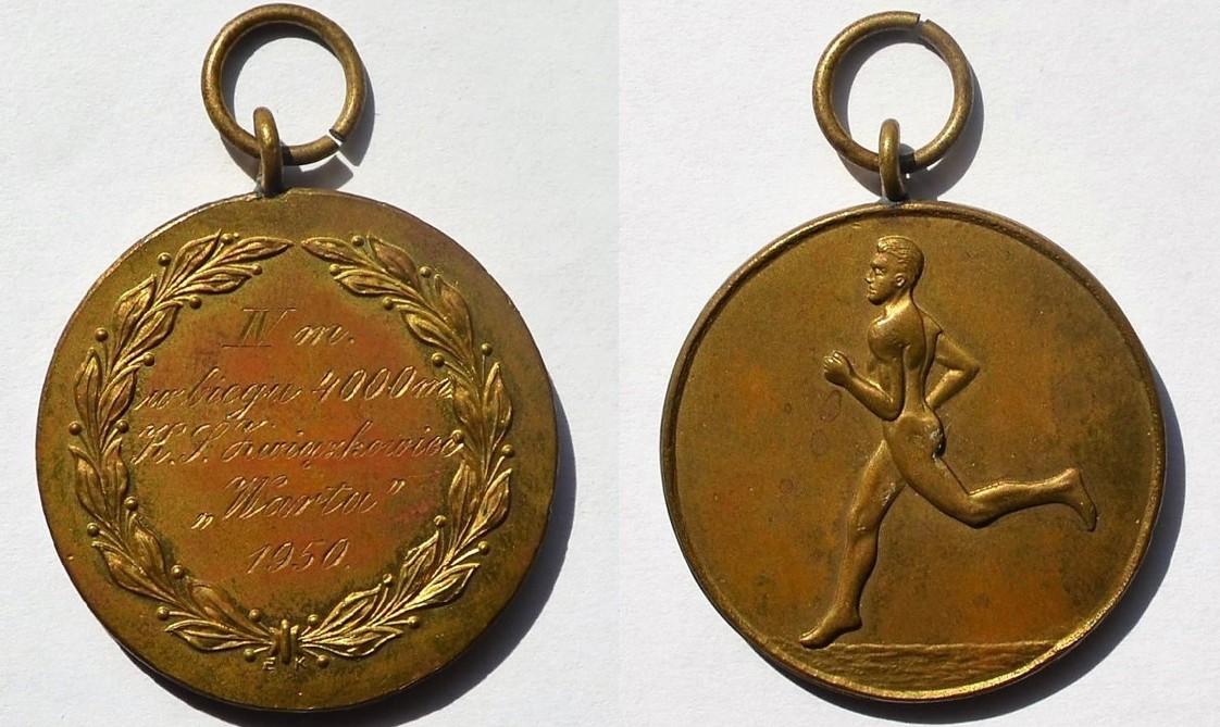 """Medal Zbigniewa Orywała: IV miejsce w biegu na 400 m/ KS Związkowiec """"Warta"""" 1950"""