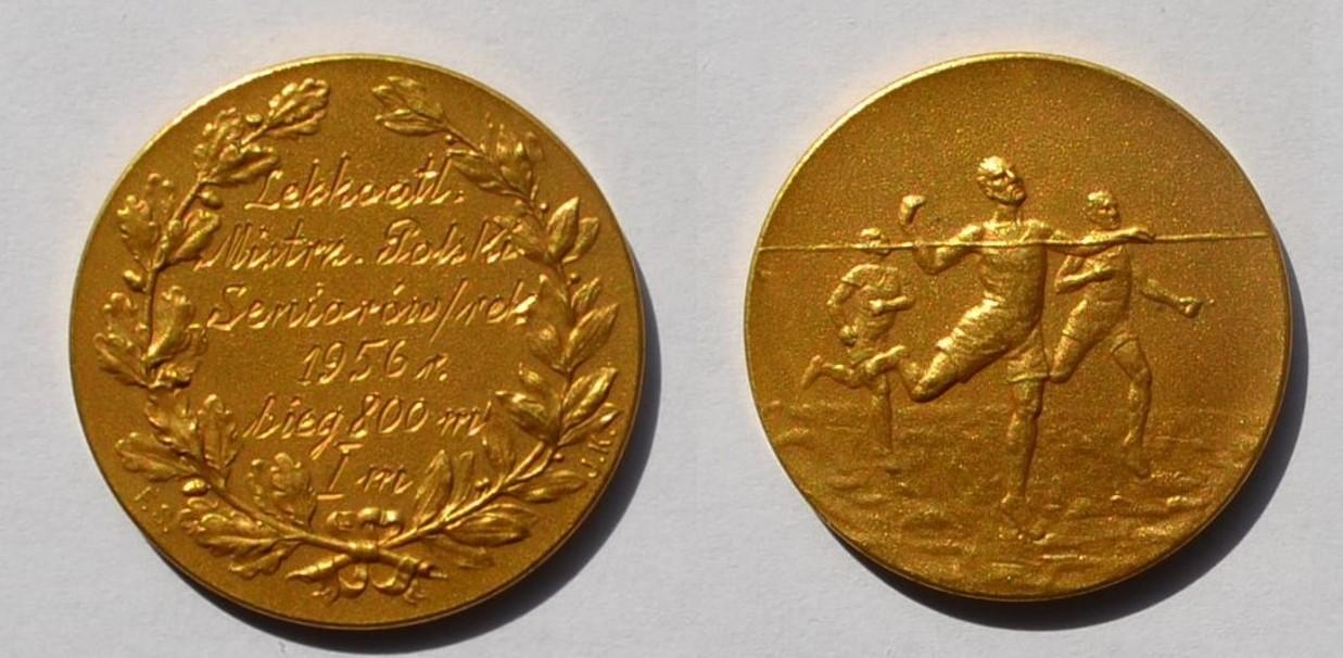 Medal Zbigniewa Orywała: I miejsce/Lekkoatletyczne Mistrzostwa Polski 1956 (sygn. MRW-RN/302).
