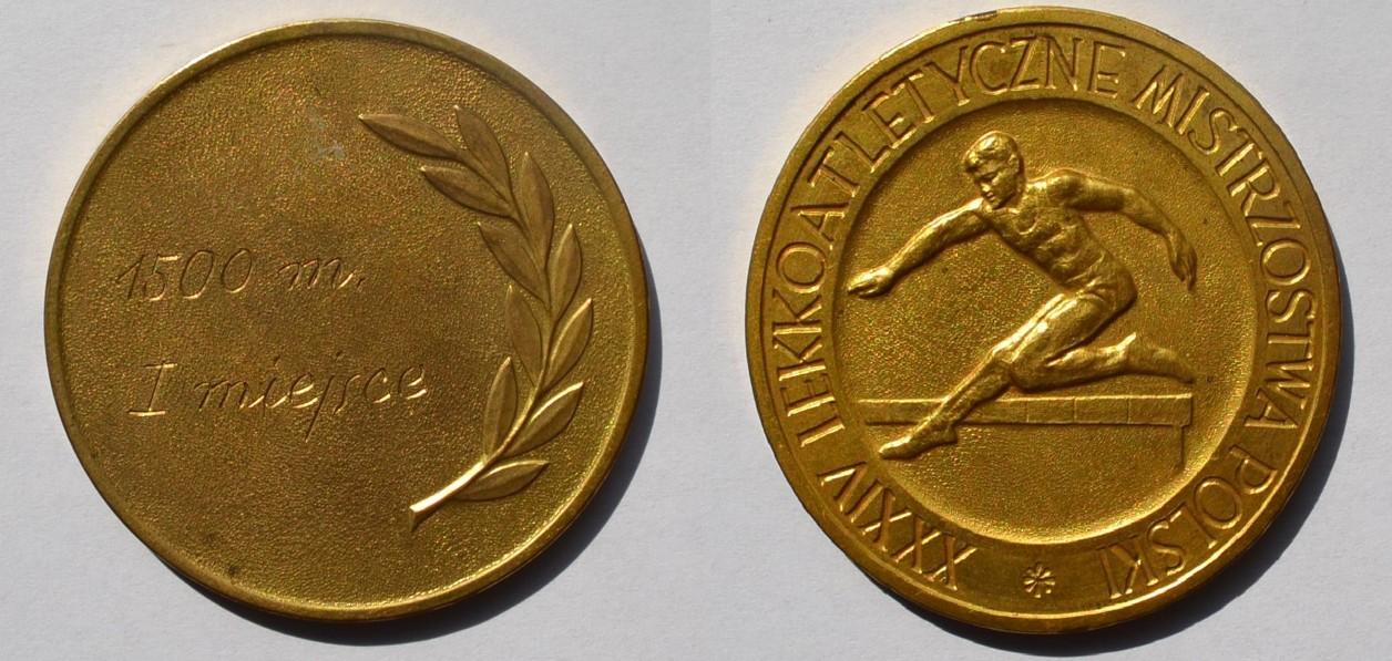 Medal Zbigniewa Orywała: I miejsce/ XXXIV Lekkoatletyczne Mistrzostwa Polski 1958 (sygn. MRW-RN/303).
