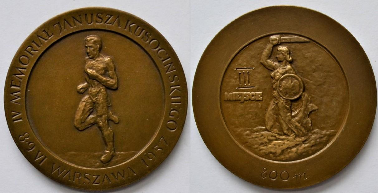 Medal Zbigniewa Orywała: III miejsce/ IV Memoriał J. Kusocińskiego Warszawa 1957 (sygn. MRW-RN/324).