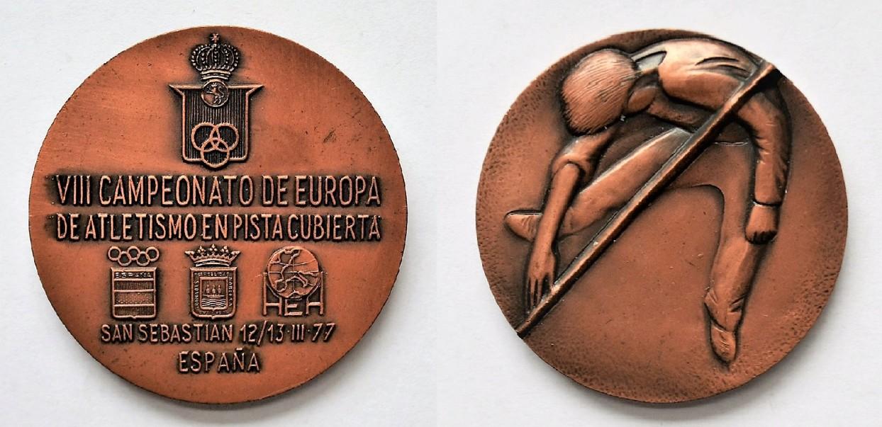 Medal Zbigniewa Orywała: Mistrzostwa Europy w Lekkiej Atletyce San Sebastian-Espana Hiszpania 1977 (sygn. MRW-RN/350).